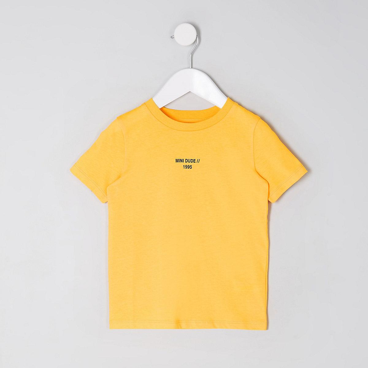 Mini boys yellow 'mini dude' tape T-shirt