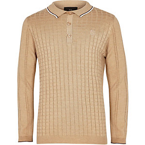 Boys light brown grid long sleeve polo shirt