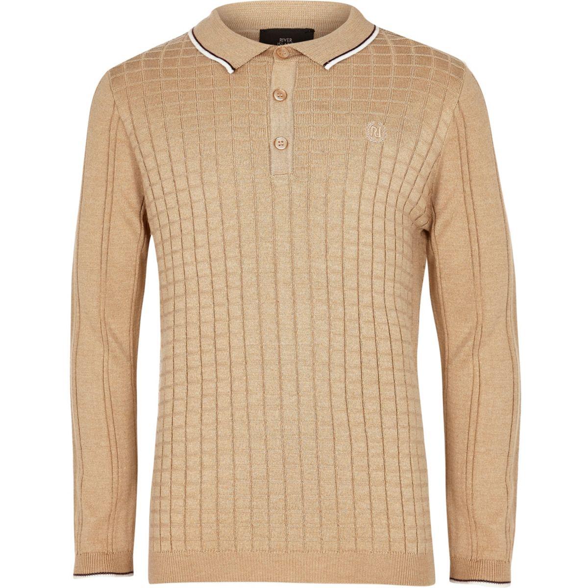 Boys light brown grid long sleeve polo shirt