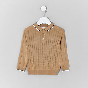 Mini boys light brown grid polo shirt