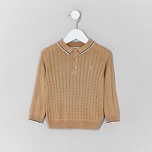 Polo à carreaux marron clair mini garçon