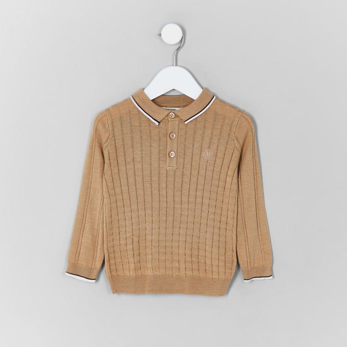 Mini boys light brown grid polo shirt