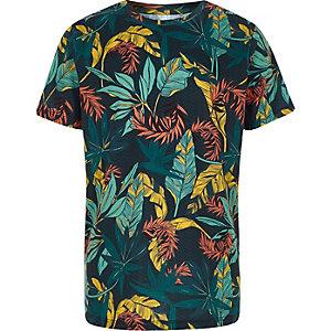 Marineblaues, geblümtes T-Shirt