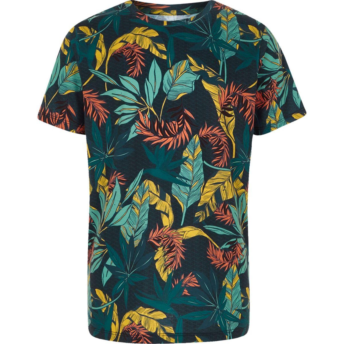 Boys navy floral print T-shirt