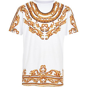 Boys white chain print T-shirt