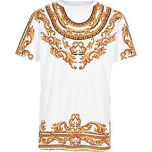 Wit T-shirt met ketting print voor jongens