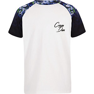 Boys white floral raglan T-shirt
