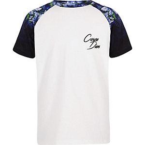Wit gebloemd T-shirt met raglanmouwen voor jongens