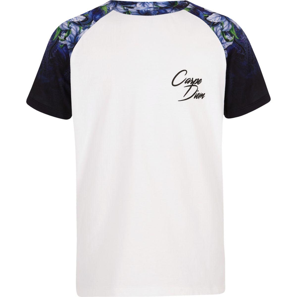 Boys white floral raglan T-shirt