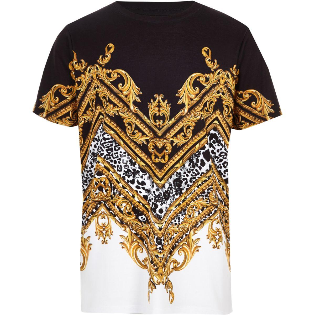 Boys white baroque print T-shirt