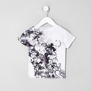 Mini boys white floral 'carpe diem' T-shirt