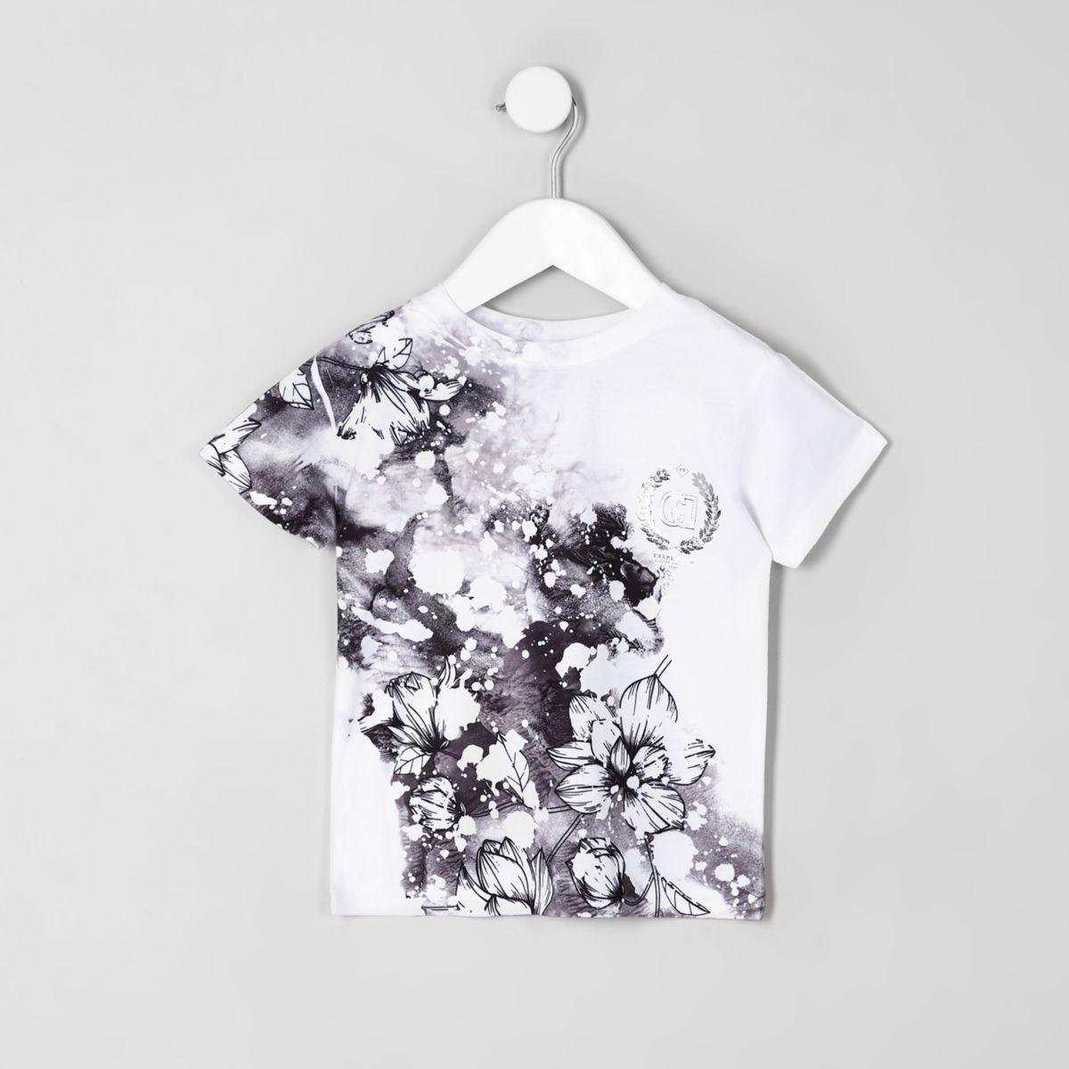 Mini boys white floral 'carpe diem' T-shirt