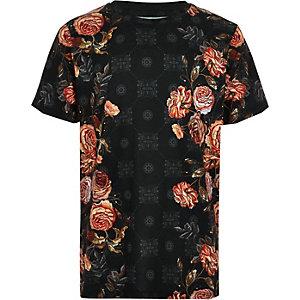 T-shirt imprimé mosaïque à fleurs noir pour garçon