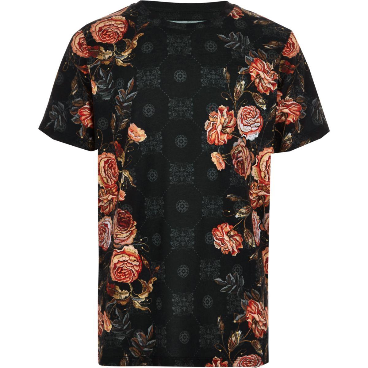 Boys black floral tile print T-shirt