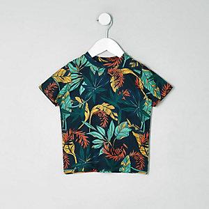 Mini - Marineblauw gebloemd T-shirt voor jongens
