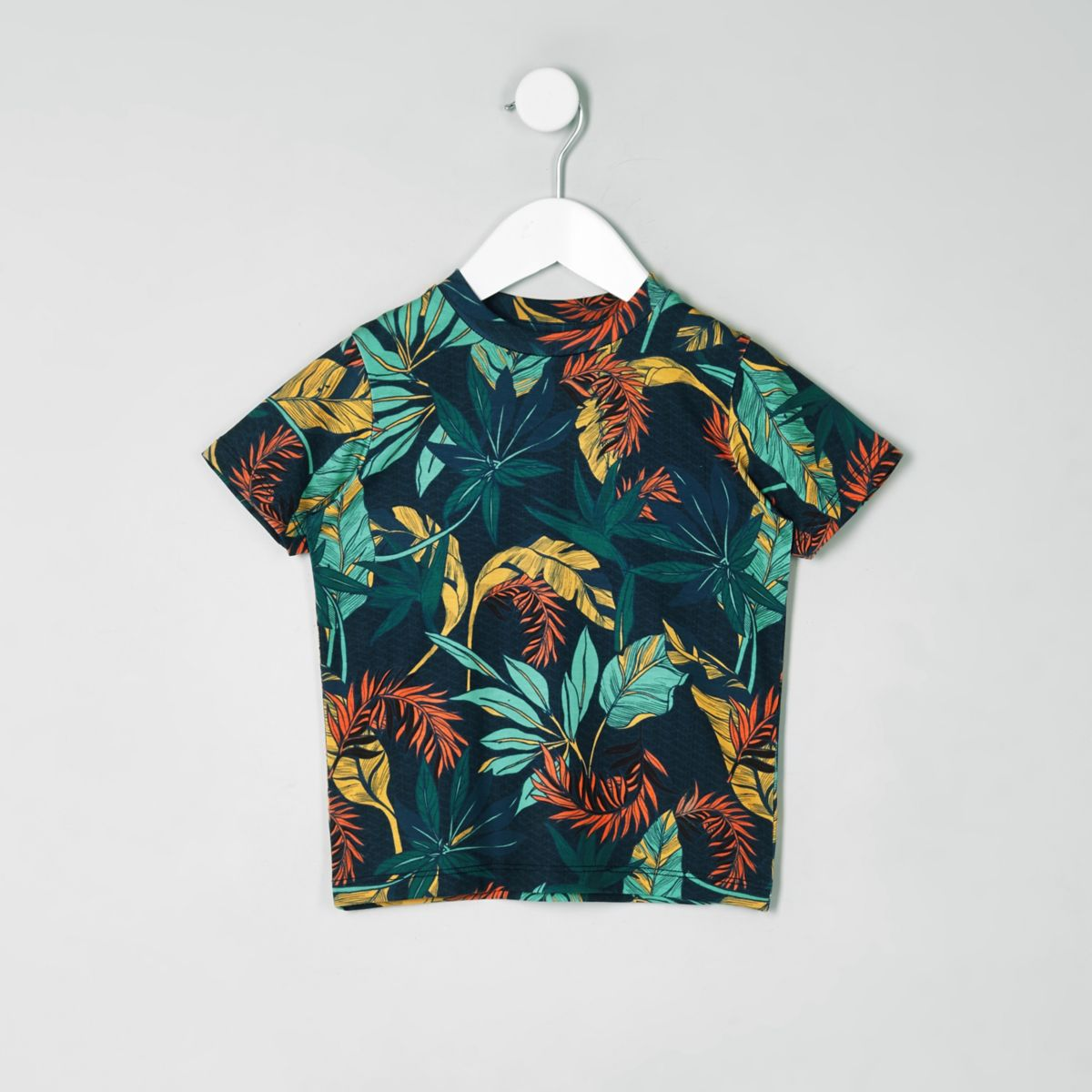 Mini boys navy floral print T-shirt