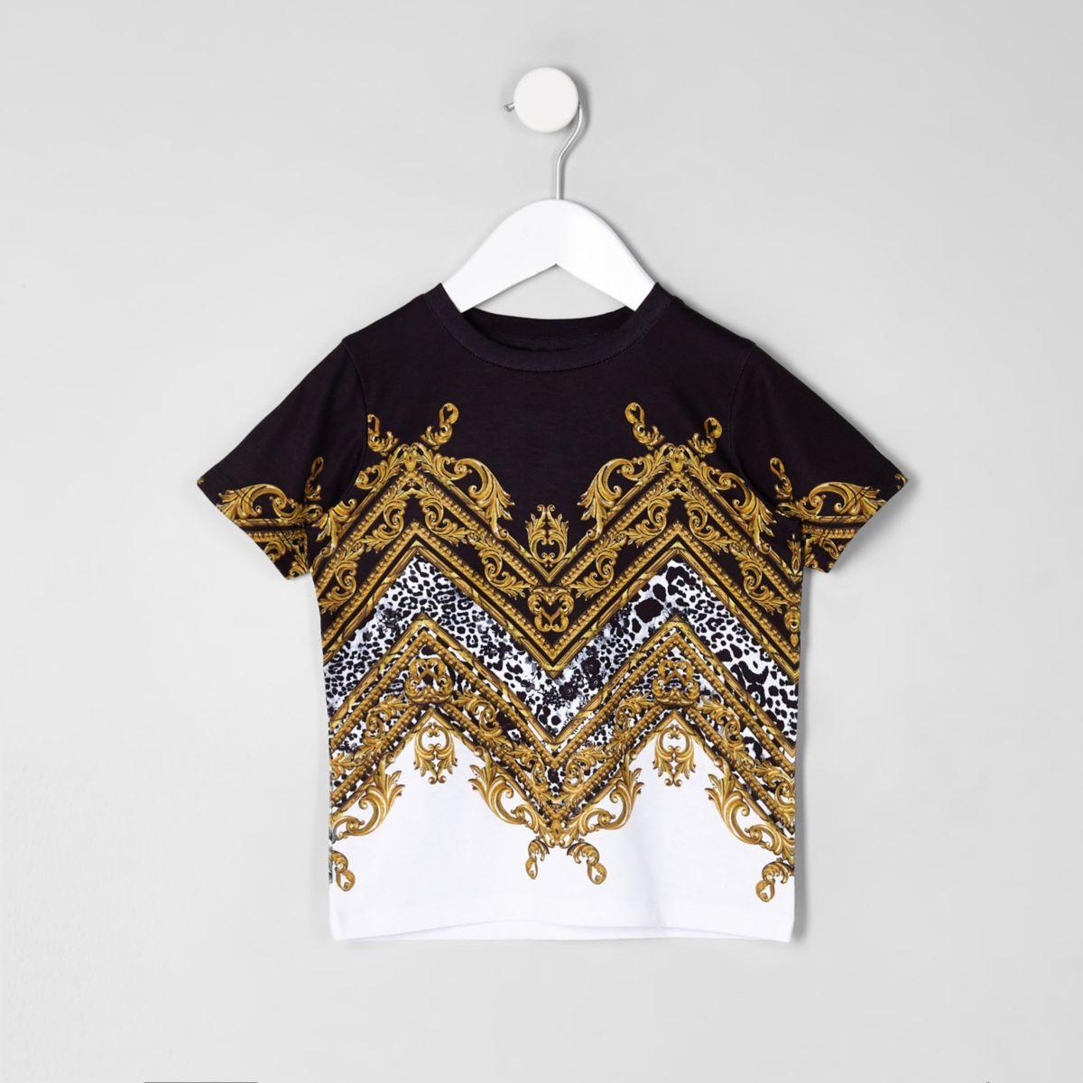 Mini boys white baroque print T-shirt
