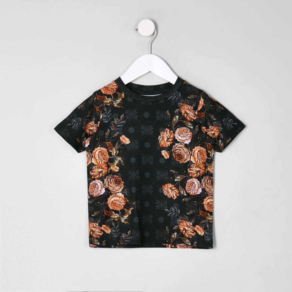 Mini boys black floral tile T-shirt