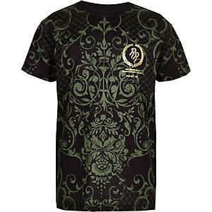 Kaki T-shirt met barokprint voor jongen