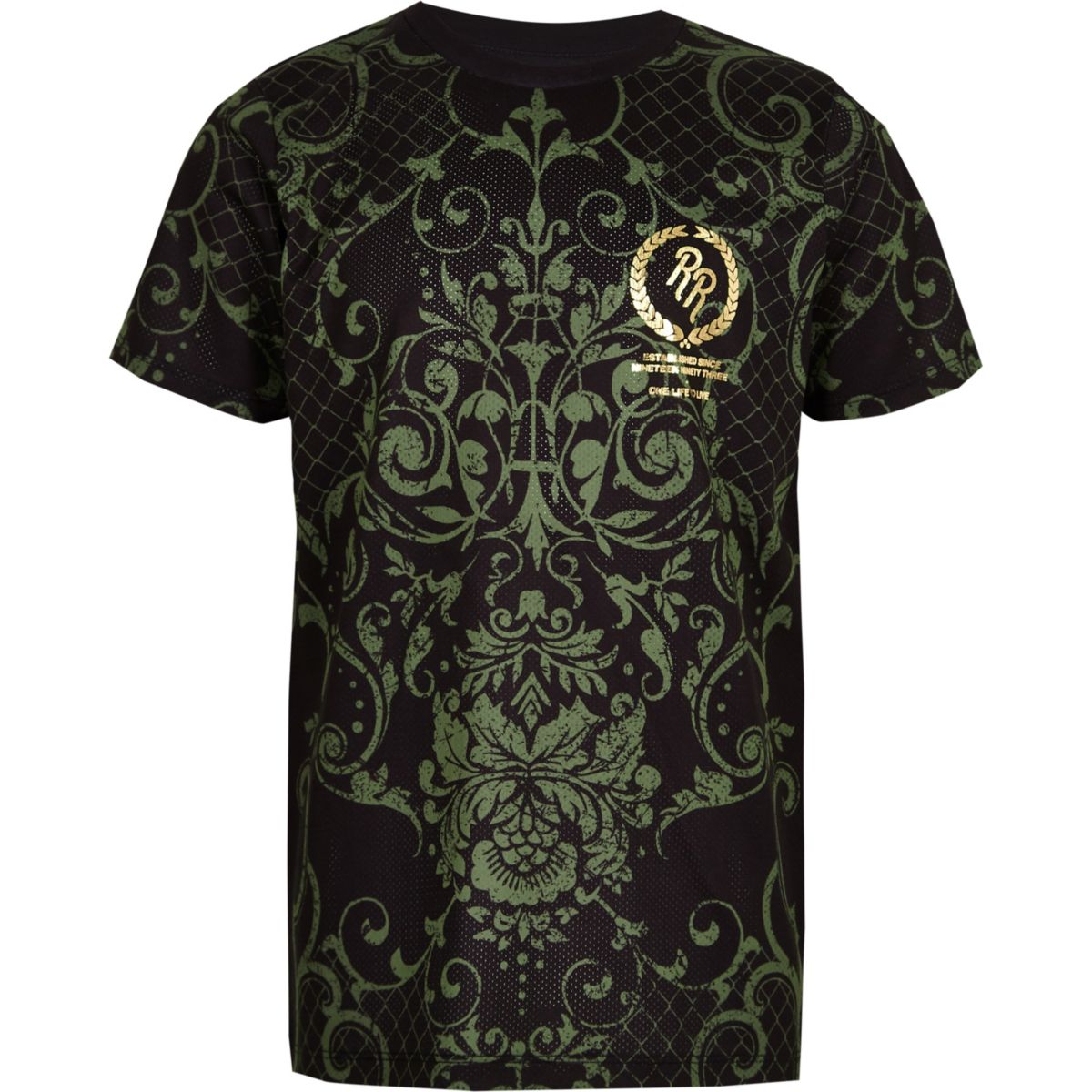 Boys khaki baroque print T-shirt