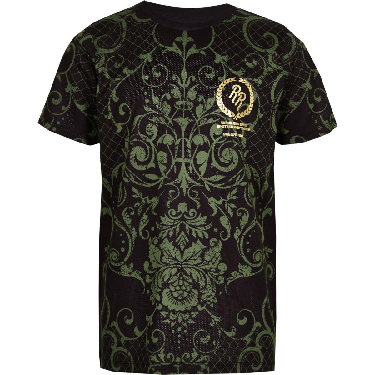 T-shirt imprimé baroque kaki pour garçon