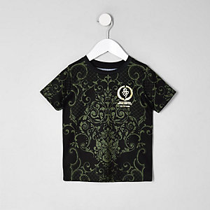 Mini boys khaki baroque print T-shirt