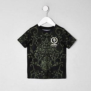 Mini - kaki T-shirt met barokprint voor jongens