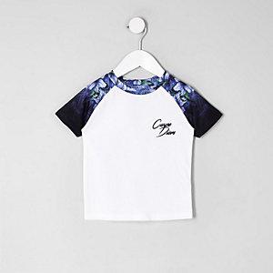 T-shirt à fleurs blanc à manches raglan mini garçon