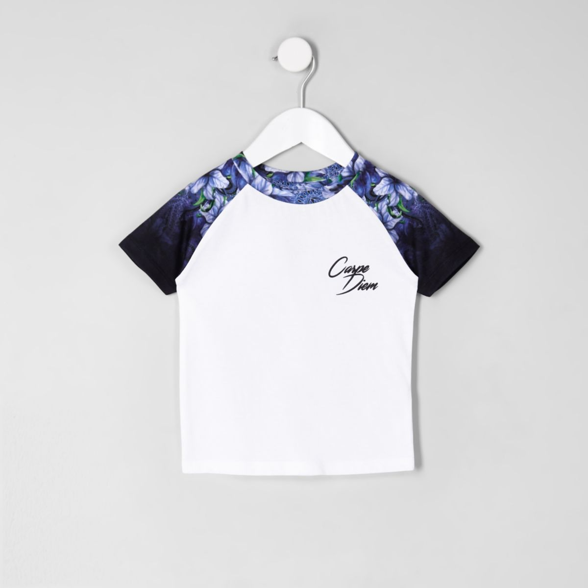 Mini boys white floral raglan T-shirt