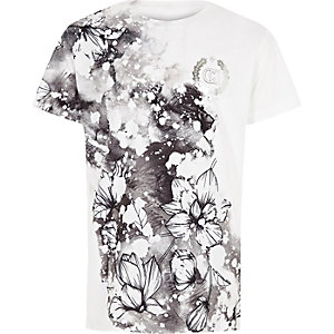 Boys white floral 'carpe diem' T-shirt