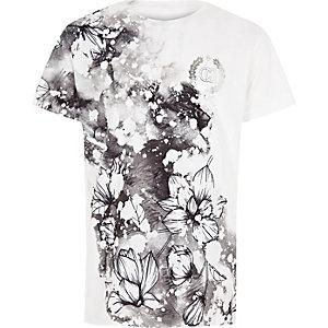 Wit T-shirt met bloemen- en 'carpe diem'-print voor jongens