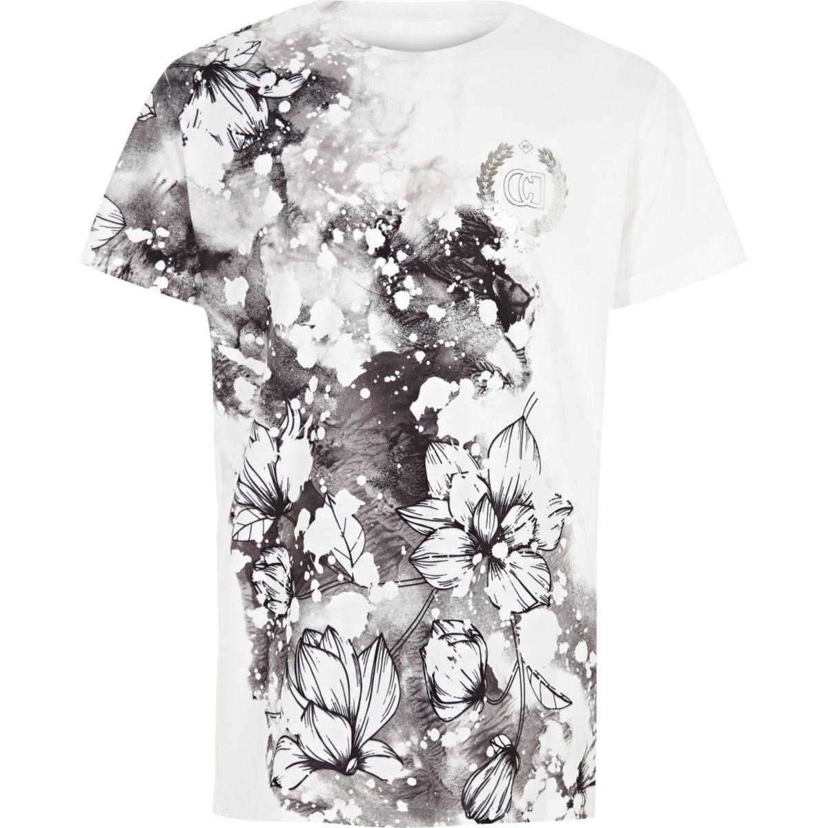T-shirt « Carpe Diem » à fleurs blanc pour garçon