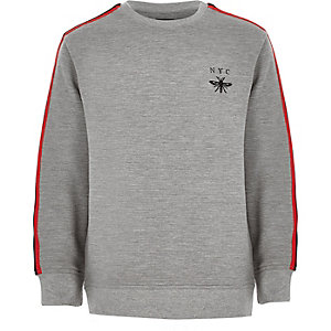 Boys grey marl ribbed tape sweatshirt