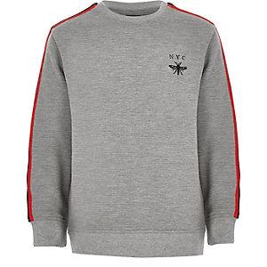 Grijs geribbeld sweatshirt met bies voor jongens