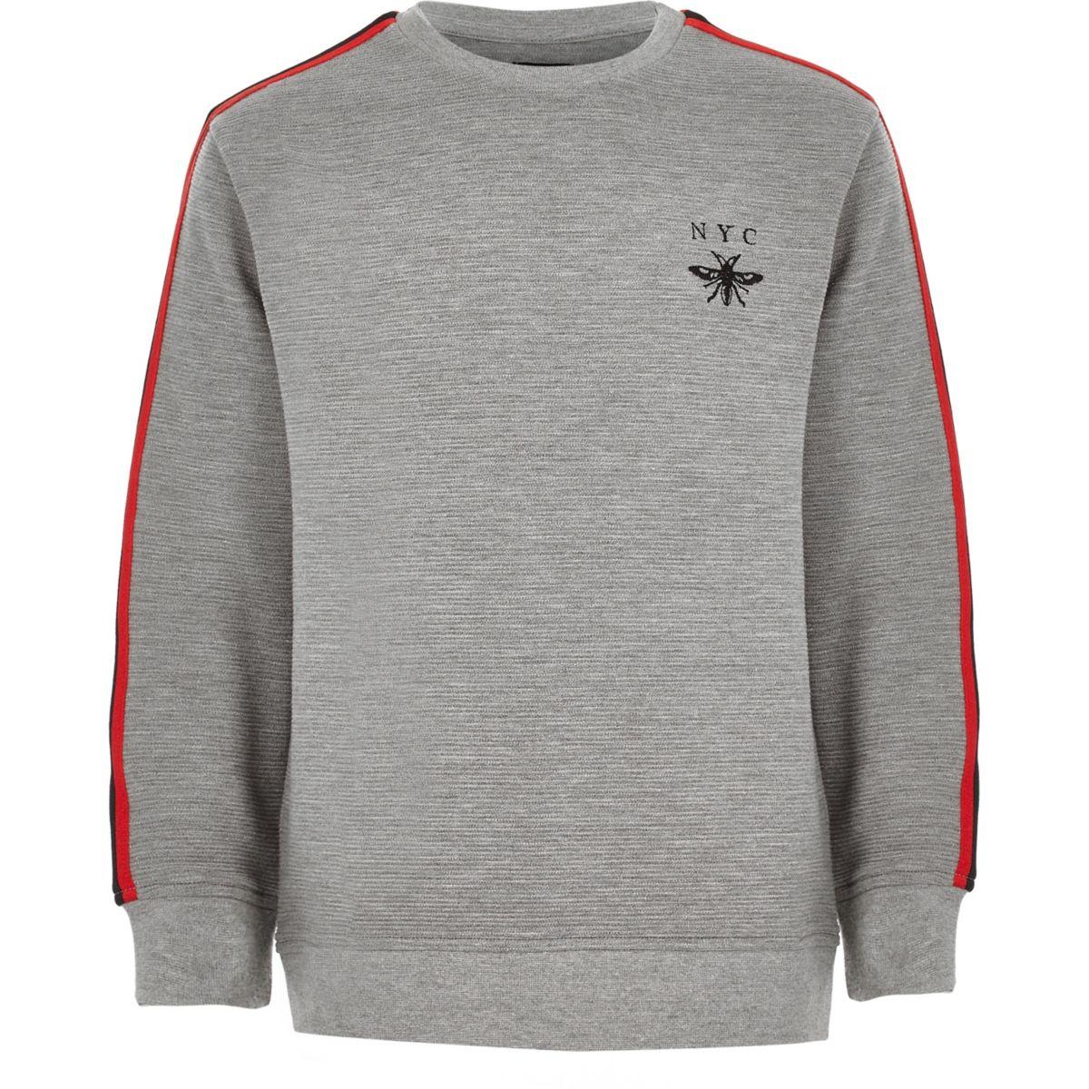 Boys grey marl ribbed tape sweatshirt