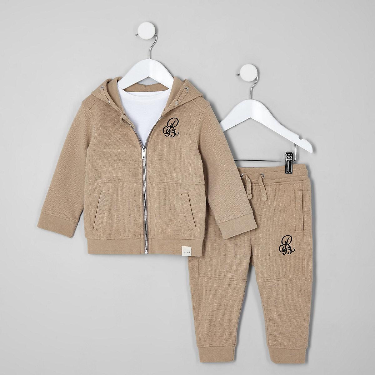 Mini boys beige pique hoodie and jogger set