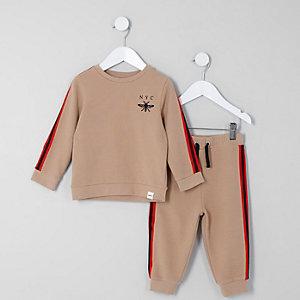 Mini - Beige sweatset met biezen voor jongens