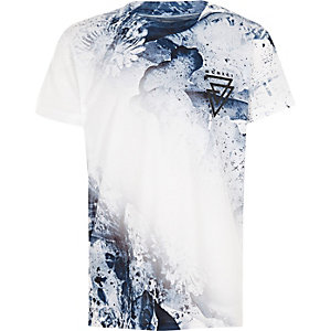 Boys blue faded paint splat T-shirt