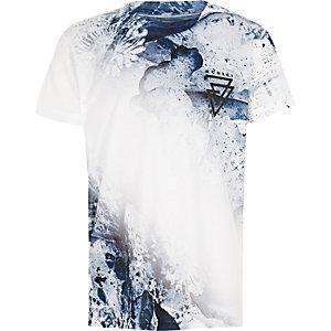 Blauw T-shirt met vervaagde verfspatten voor jongens