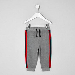 Mini boys grey ribbed tape joggers