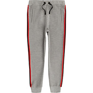 Boys grey ribbed tape joggers