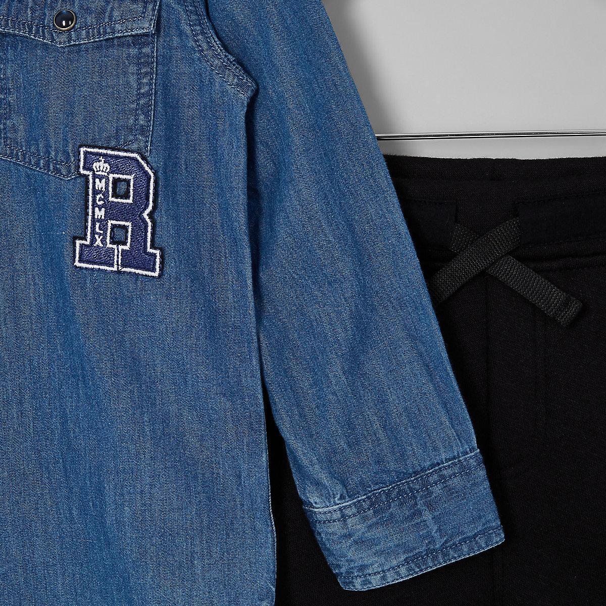 da5f0b501 Mini boys blue denim shirt and jogger outfit - Baby Boys Outfits ...