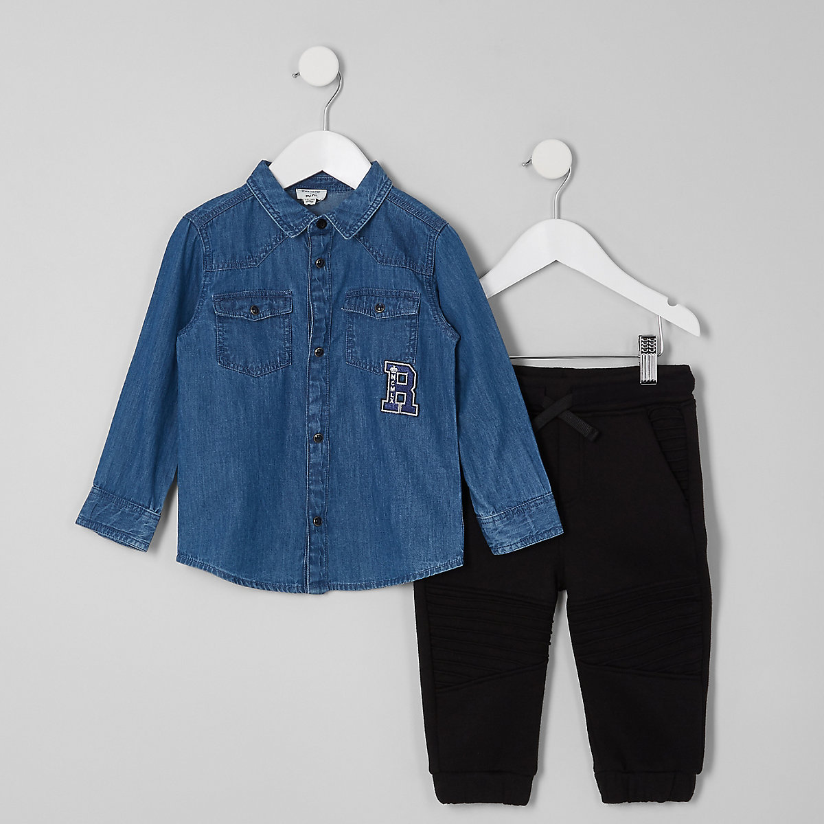 47b492bcd00 Mini boys blue denim shirt and jogger outfit