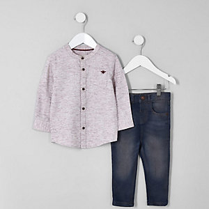 Mini boys red herringbone shirt and jeans set