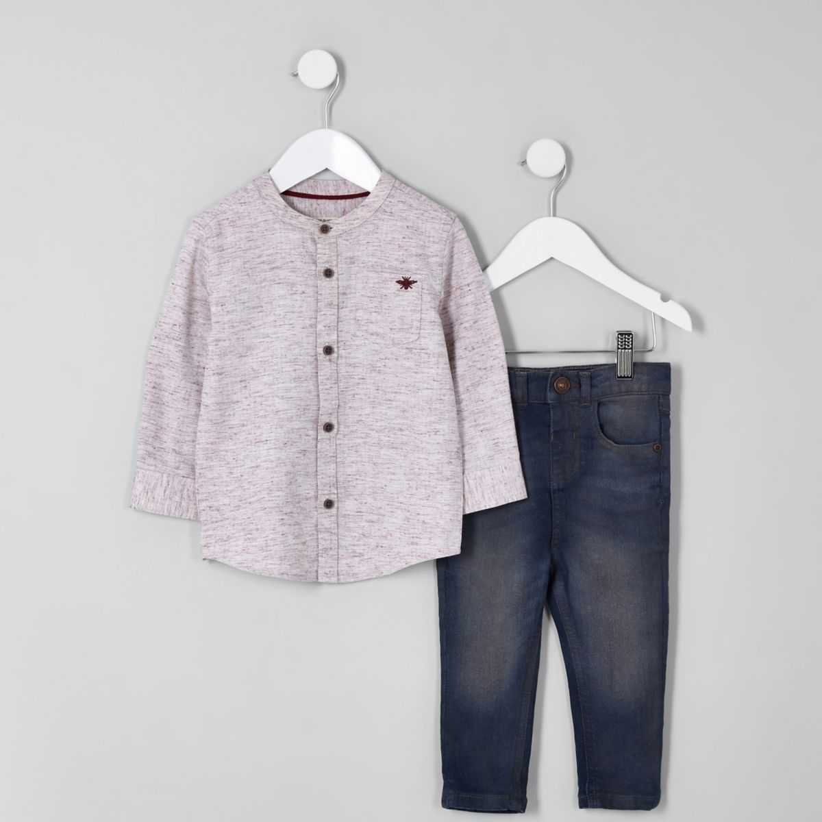 Mini boys red herringbone shirt and jeans set