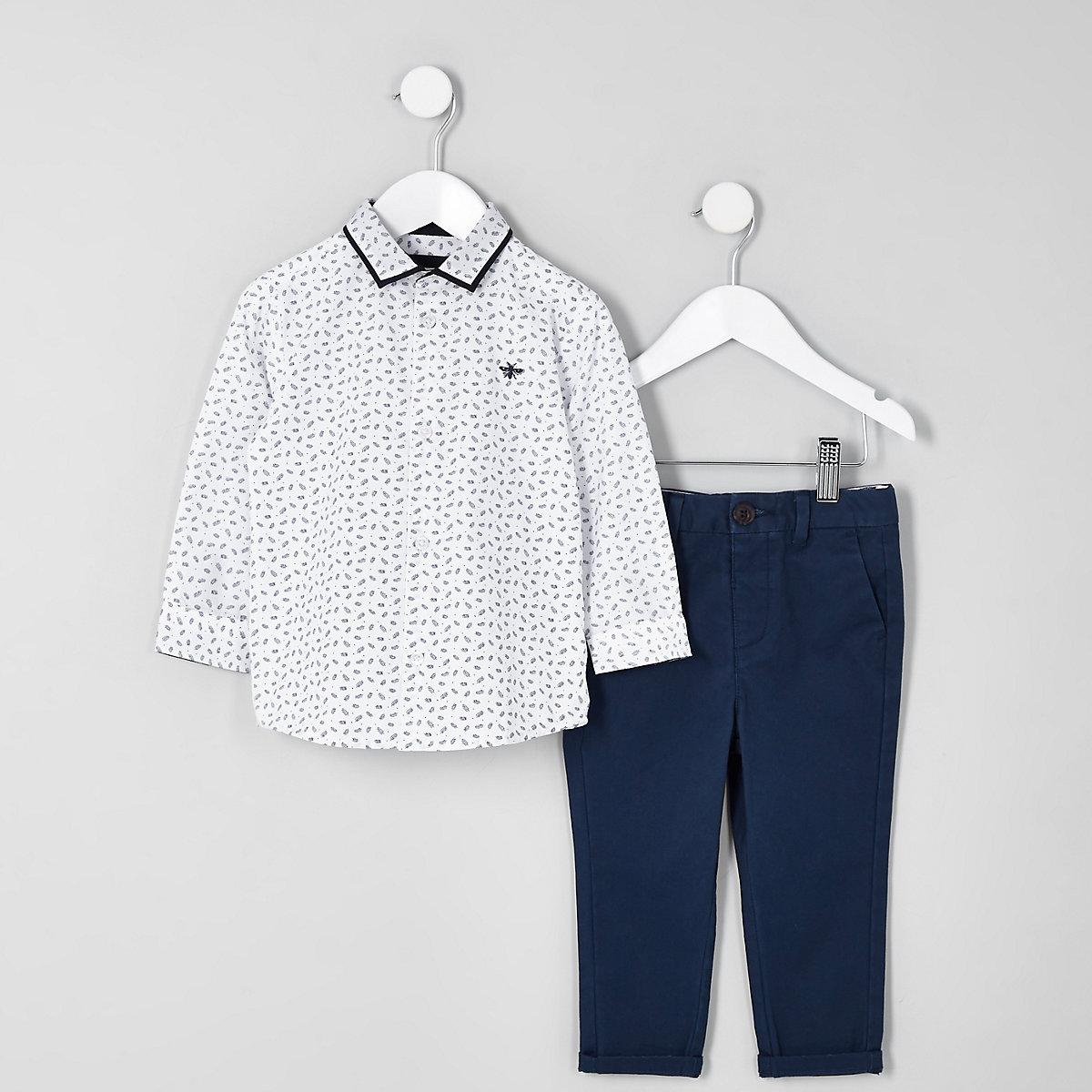 Mini boys white ditsy print shirt outfit