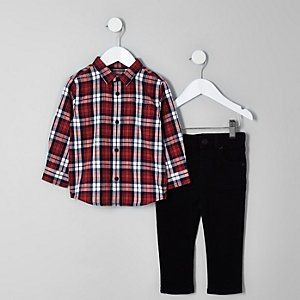 Boys red check shirt and Sid jeans outfit