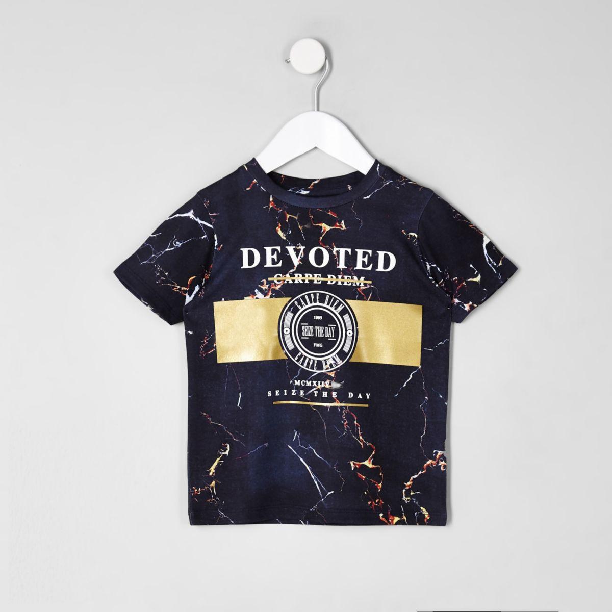 Mini boys navy 'devoted' marble print T-shirt