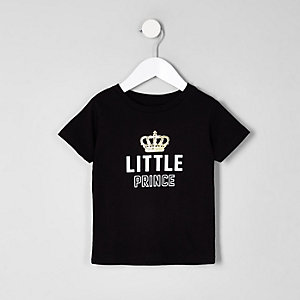 Mini boys 'little prince' black T-shirt