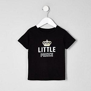 Mini - Zwart T-shirt met 'little prince'-print voor jongens